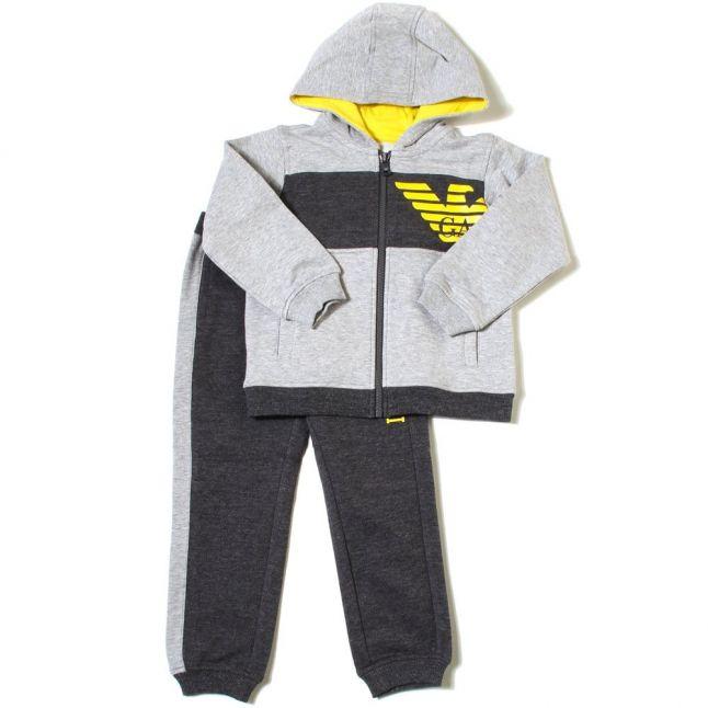 Boys Grey & Yellow Contrast Tracksuit