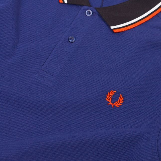 Mens Medieval Blue Contrast Ribbed S/s Polo Shirt
