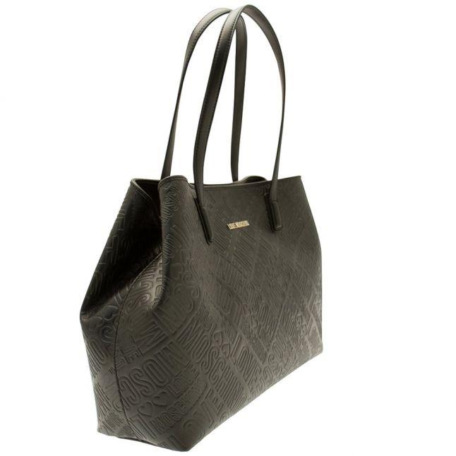Womens Black Embossed Shopper Bag