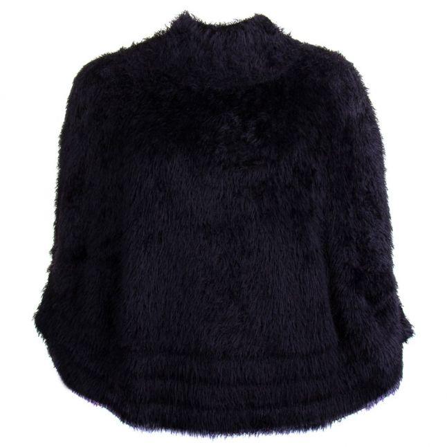 Womens Black Faux Fur Poncho