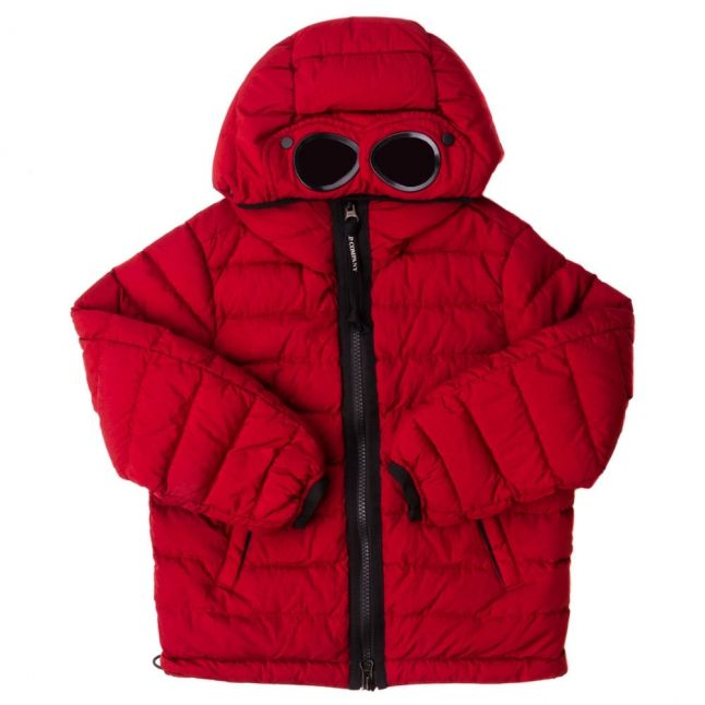 Boys Red Goggle Hood Puffer Jacket