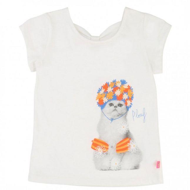Girls White Cat S/s Tee Shirt