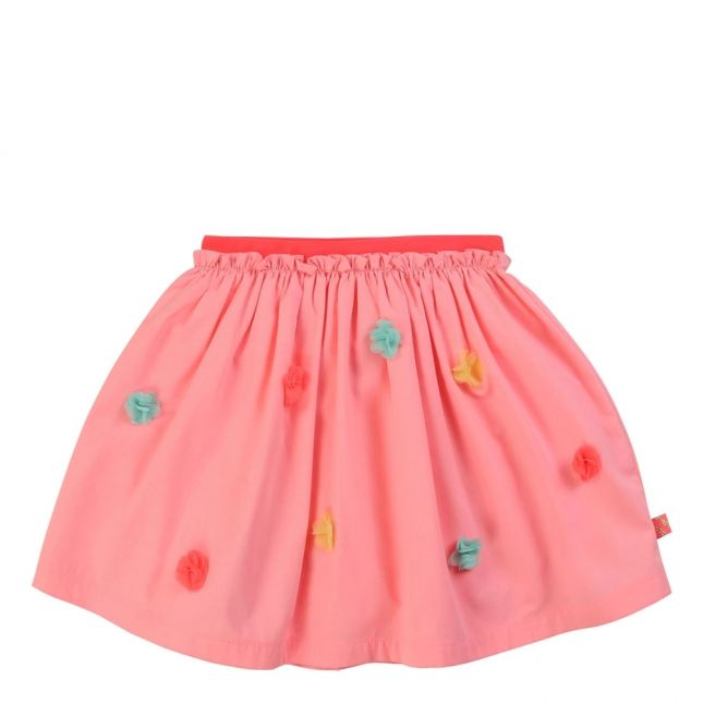 Girls Pink Multi Flower Skirt