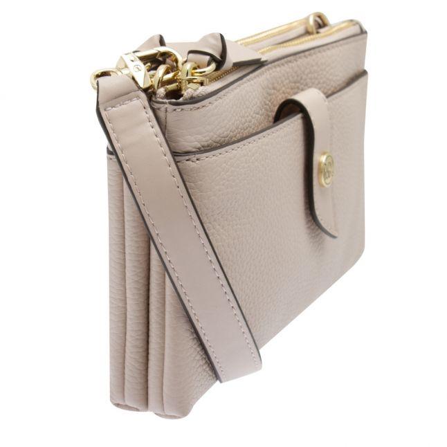 Womens Soft Pink Charm Tab Double Zip Phone Crossbody Bag