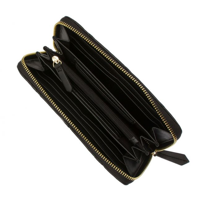 Womens Black Ocarina Quilted Large Zip Around Purse