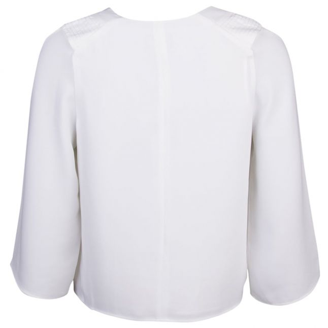 Womens Off White Tie Neck Blouse