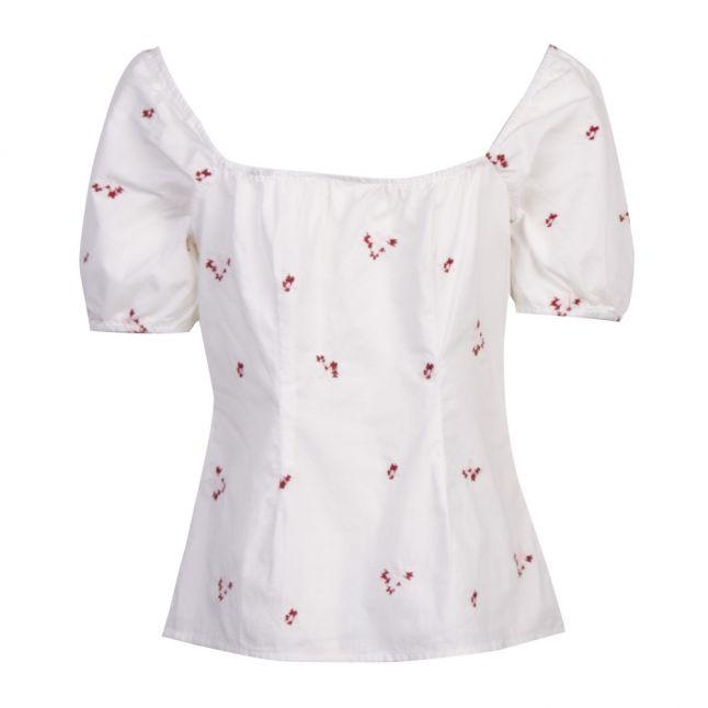 Womens White Visuvio Cotton Flower Top