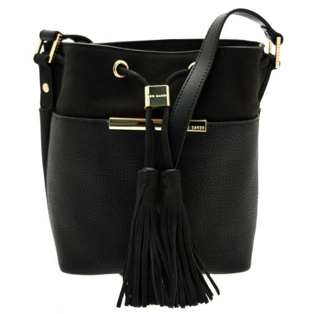 Womens Black Melania Suede Bucket Bag