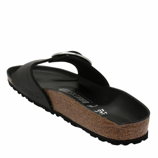 Womens Black Oiled Leather Madrid Big Buckle Sandals