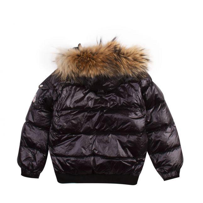 Girls Black Aviator Shiny Fur Hooded Jacket