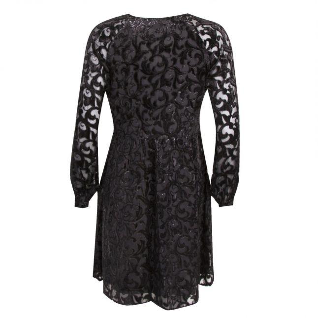 Womens Black Flocked Raglan Sleeve Dress