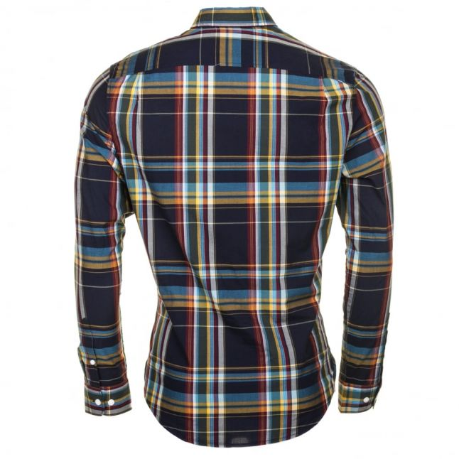 Mens Dark Sapphire P55 Plaid Check Slim Fit L/s Shirt