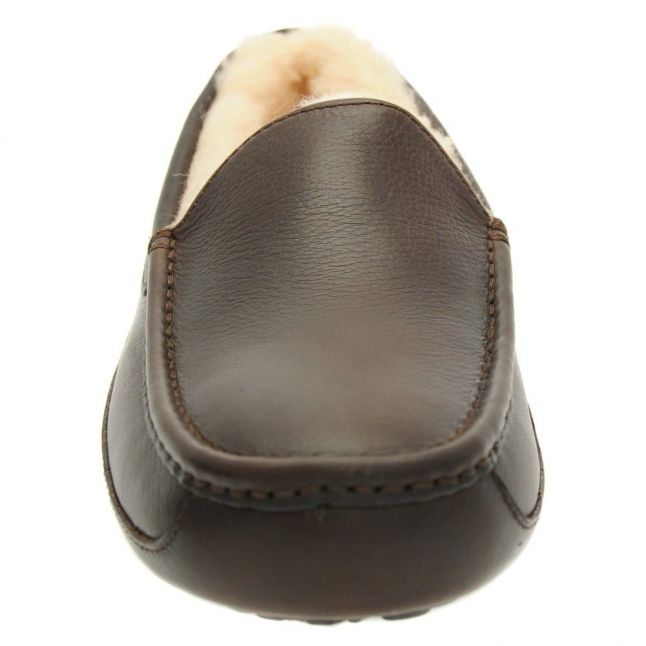 Mens China Tea Leather Ascot Slippers