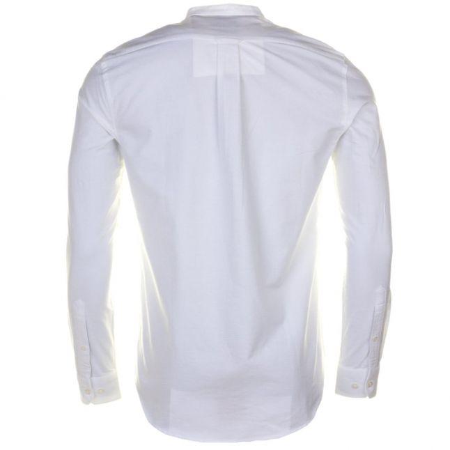 Mens White Brewer Grandad Slim Fit L/s Shirt