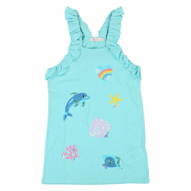 Girls Turquoise Sequin Ocean Tank Top Dress