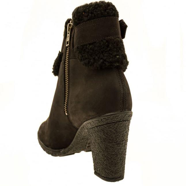 Womens Black Glancy Teddy Fold-Down Boots