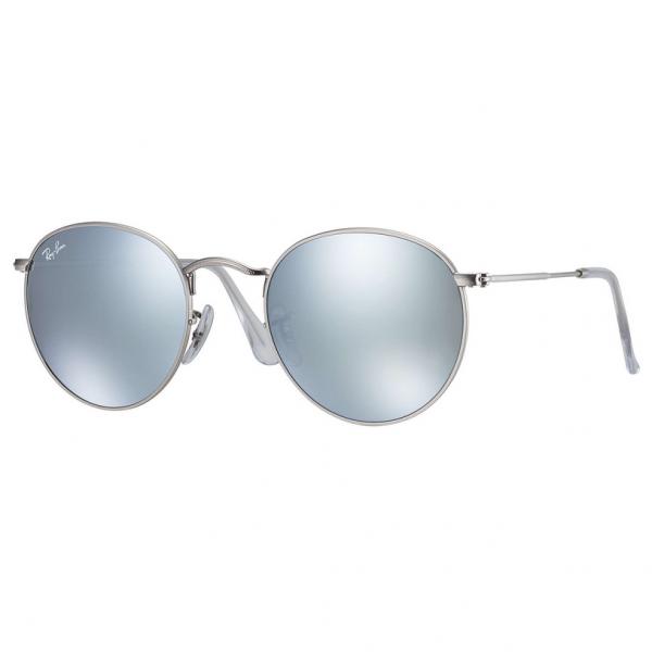 Silver Mirror RB3447 Round Metal Sunglasses