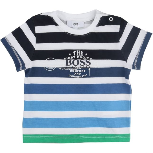 Baby Blue & Green Thick Stripe S/s Tee Shirt