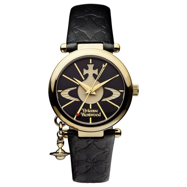 Womens Black Orb II Leather Watch