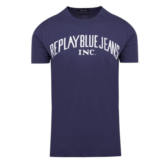 Mens Night Blue Heritage Logo S/s T Shirt