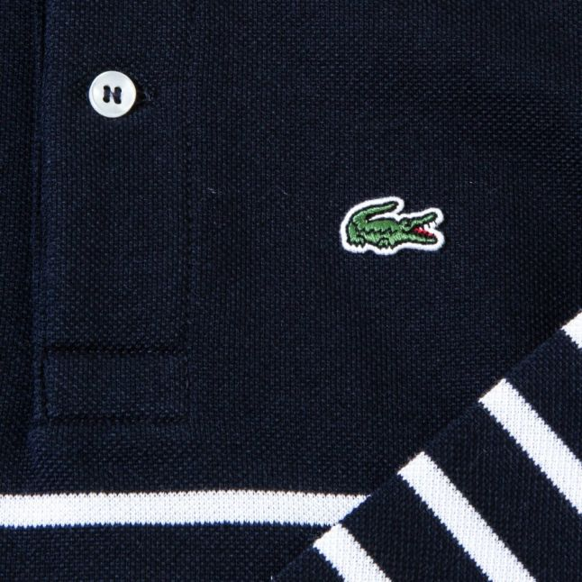 Boys Navy & White Striped L/s Polo Shirt