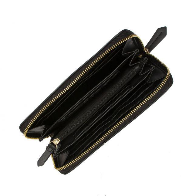 Womens Black Liuto Logo Large Zip Around Purse