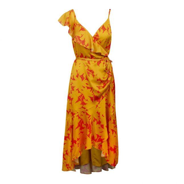 Womens Yellow/Pink Saraaa Ruffle Midi Wrap Dress
