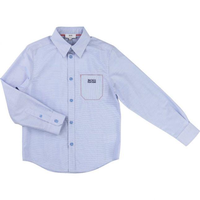 Boys Blue Branded Pocket L/s Shirt