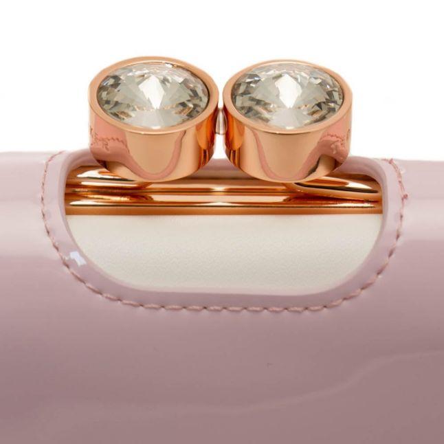 Womens Pale Pink Marli Small Crystal Bobble Patent Purse
