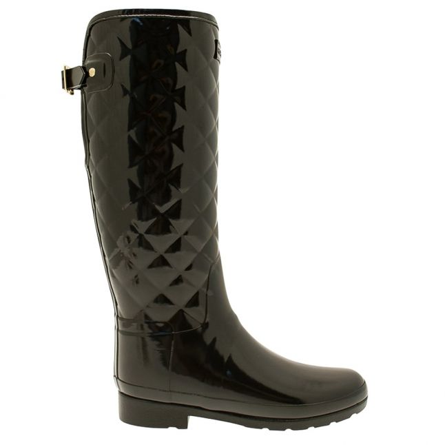 Womens Black Refined Gloss Quilted Tall Wellington Boots