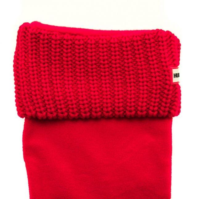 Womens Red Tall Half Cardigan Stitch Wellington Socks