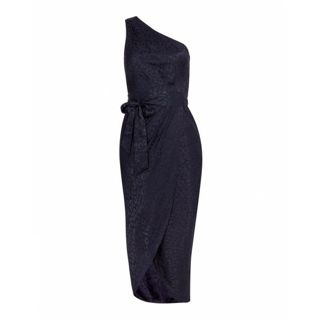 Womens Navy Zoeii Animal Jacquard Midi Dress