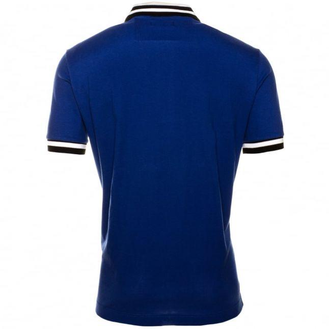 Mens Blue Stripe Collar S/S Polo Shirt