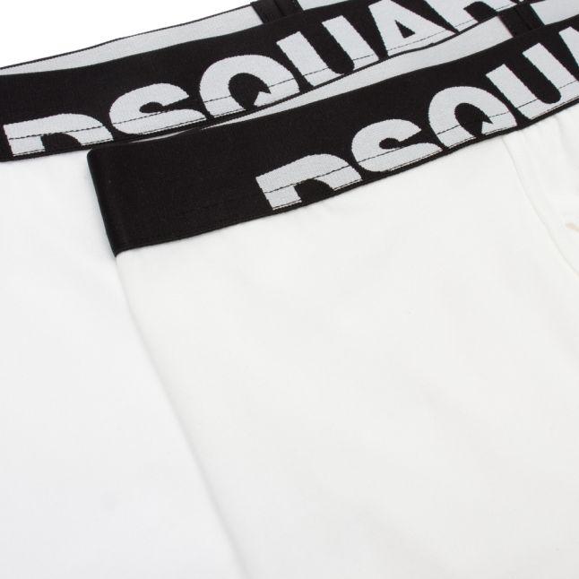 Mens White Logo Waistband 2 Pack Trunks