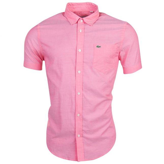 Mens Pink Branded Slim Fit S/s Shirt