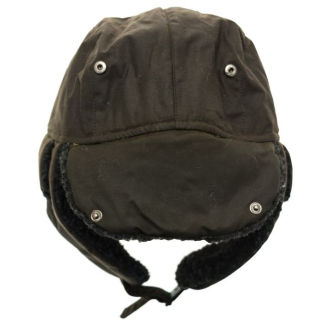 Mens Olive Fleece Lined Waxed Trapper Hat