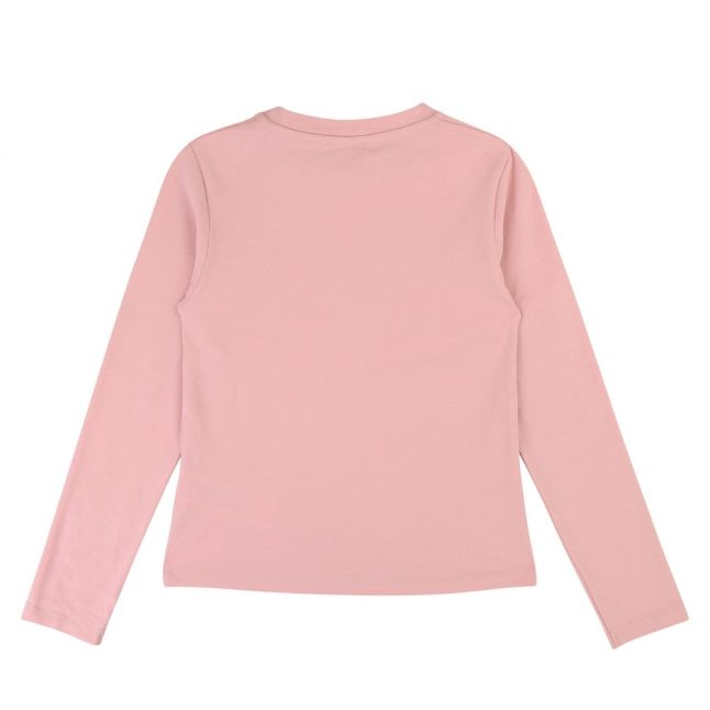 Girls Pink Shiny Logo L/s T Shirt