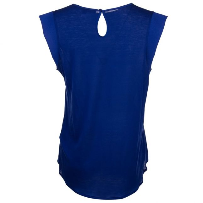Womens Blue Depths Classic Crepe Cap Sleeve Tee Shirt