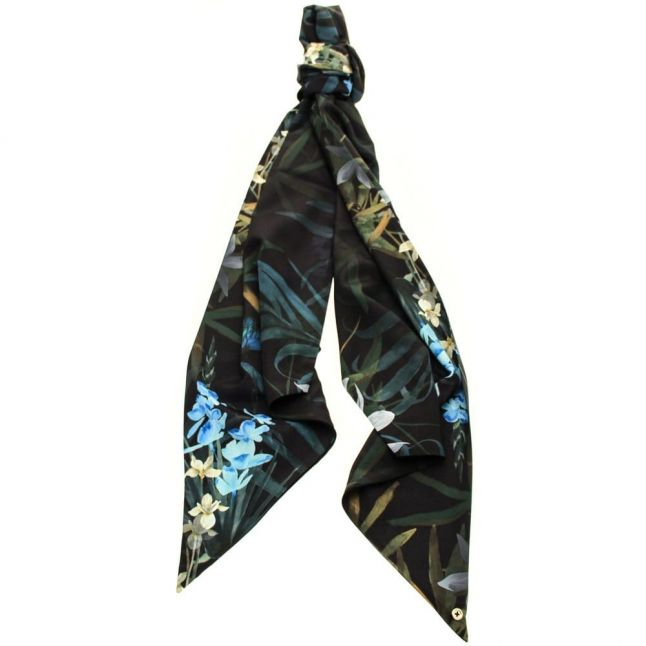 Womens Black Livea Twilight Floral Skinny Scarf