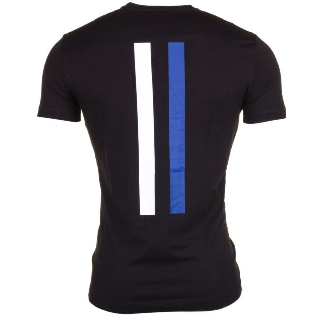 Mens Black Silver Label Branded S/s Tee Shirt