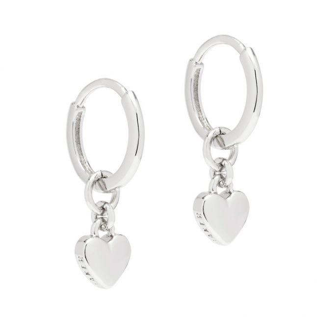Womens Silver Harrye Heart Huggie Earrings