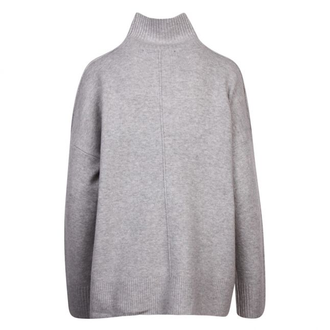Womens Light Grey Melange River Chari Knits High Neck Jumper