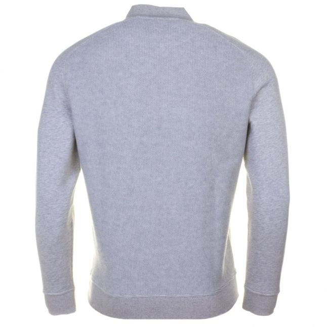 Mens Light Grey Marl Double Faced Bomber Sweat Top