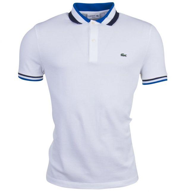 Mens White Tipped Slim S/s Polo Shirt