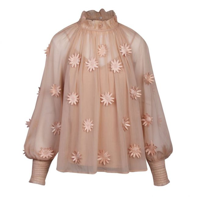 Womens Clay Nude Aziza Lace Floral Applique Top