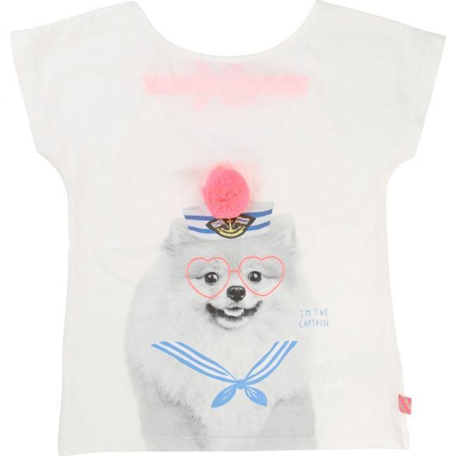 Girls White Dog Print S/s Tee Shirt