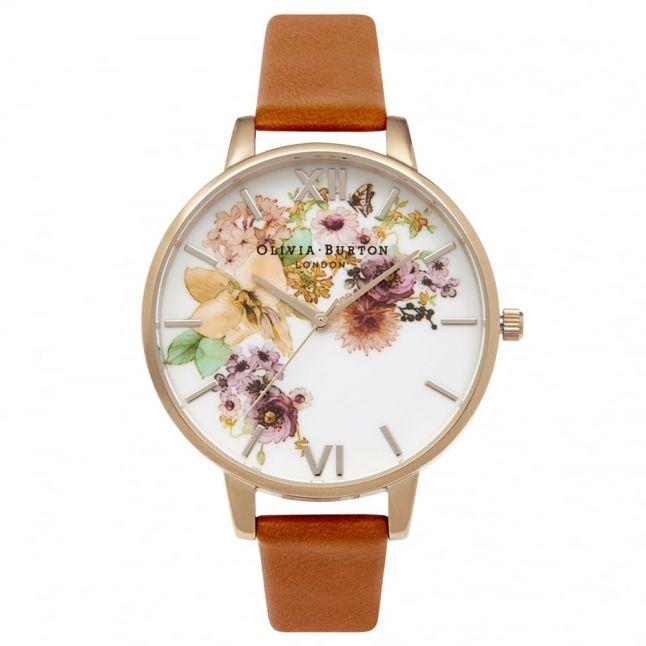 Womens Tan & Gold Flower Show Watch