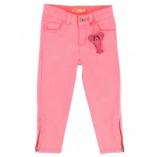 Girls Pink Zip Leg Jeans