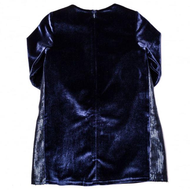 Girls Navy Velvet & Sequin Trim L/s Dress