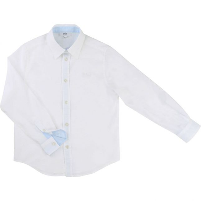Boys White Branded L/s Shirt